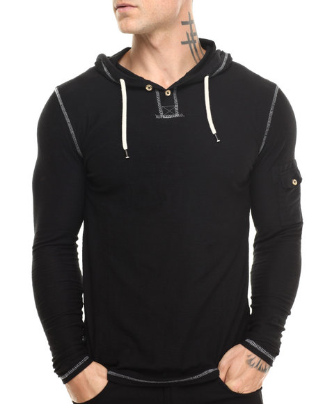 Buyers Picks - Men Black Henley Pullover Hoodie