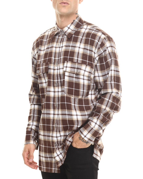 Basic Essentials - Men Brown Two - Pocket Plaid L/S Button-Down