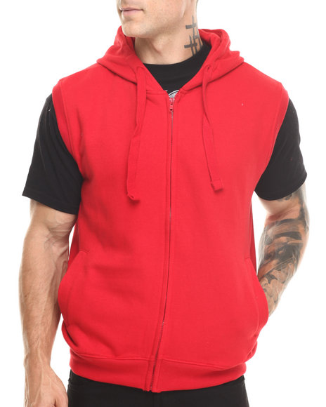Basic Essentials - Men Red Hooded Fleece Vest
