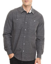 Men - Dark Grey Neppy L/S Button Down Shirt