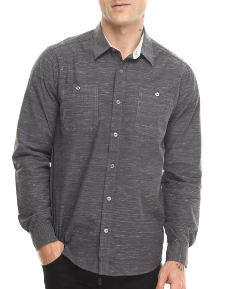 Buyers Picks - Men Grey Dark Grey Neppy L/S Button Down Shirt