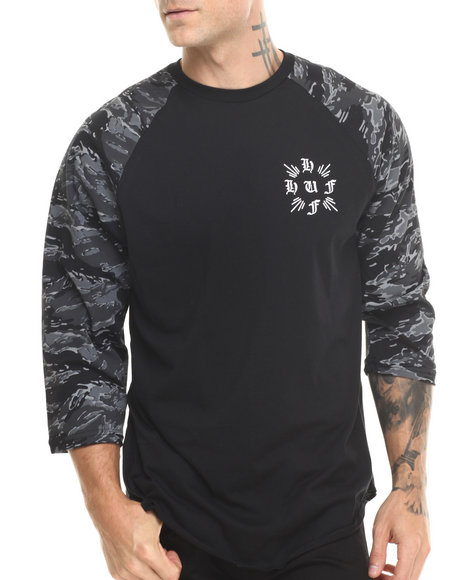 Huf - Men Black Crossed Tiger Camo Raglan Tee