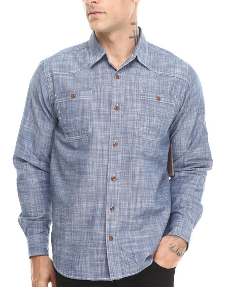Basic Essentials - Men Blue Chambray L/S Button Down Shirt