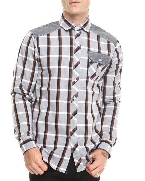 Buyers Picks - Men Black Yarn Dyed Chambray Accent Trim Plaid Shirt