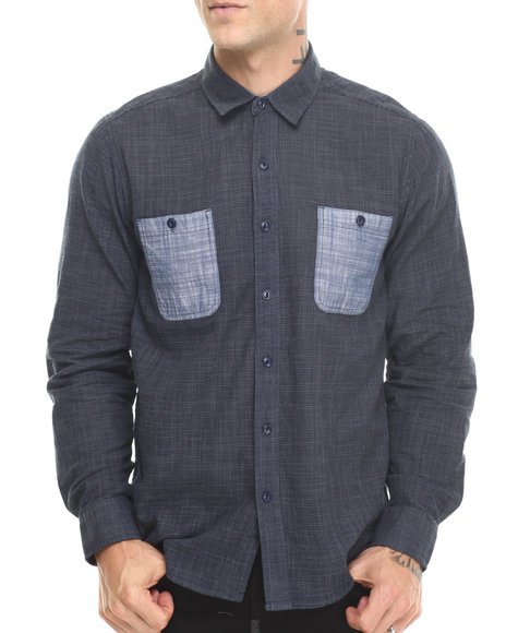 Basic Essentials - Men Navy Textured  Chambray Accent  L/S Button Down Shirt - $22.99