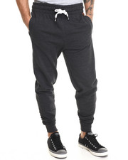 Men - Faux leather mini patch detail drawstring sweatpants