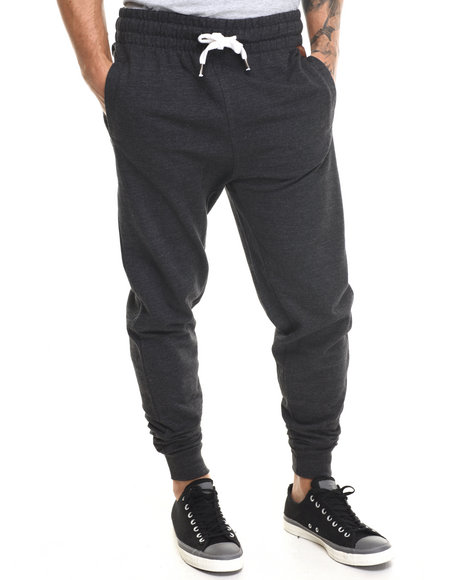 Buyers Picks - Men Charcoal Faux Leather Mini Patch Detail Drawstring Sweatpants - $34.99