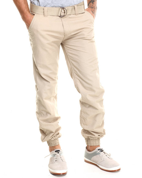 Basic Essentials - Men Khaki Belted Rip - Stop Twill Joggers