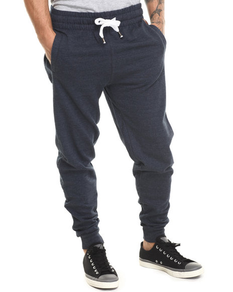Buyers Picks - Men Navy Faux Leather Mini Patch Detail Drawstring Sweatpants