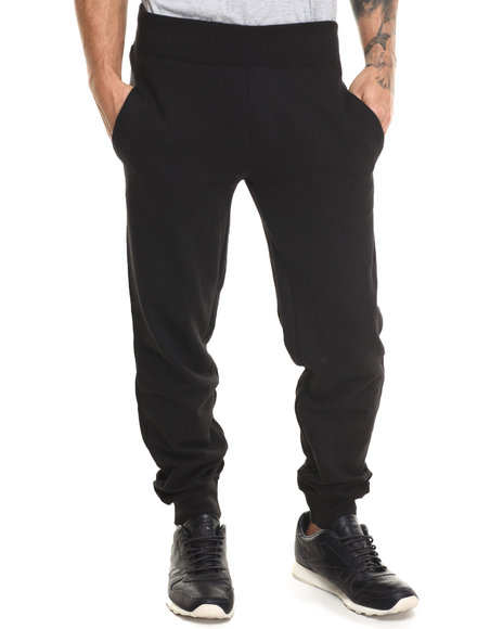 Basic Essentials - Men Black Harem French - Terry Joggers