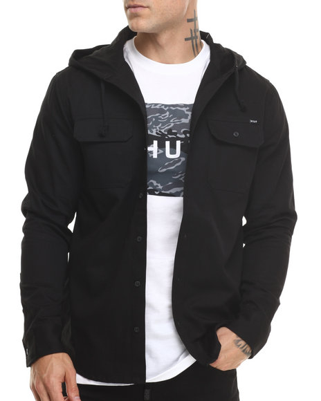 HUF Black Worldwide Hooded L/S Button-Down
