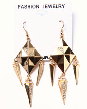 Women - Pyramid Stud Crystal Dangle Earrings