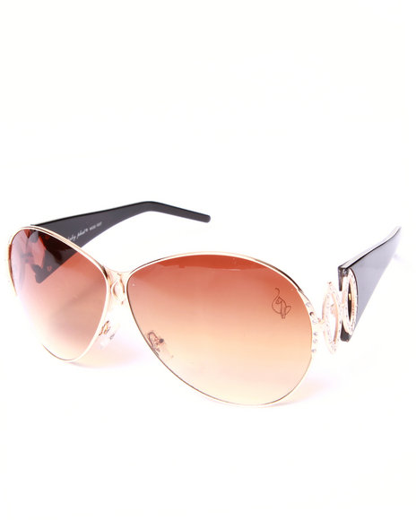 Baby Phat Women Metal Frame Cut-Out Temple Sunglasses Gold