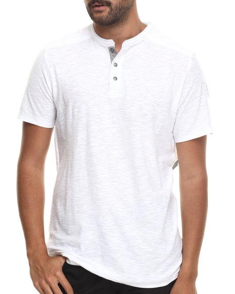 Buyers Picks - Men White Contrast Henley S/S Tee - $11.99