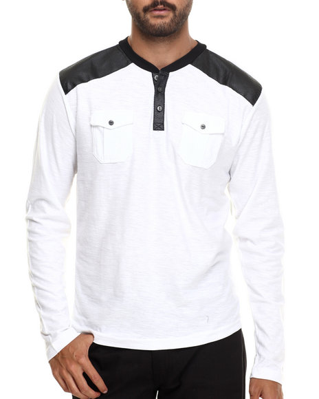 Buyers Picks - Men White Henley L/S Faux Leather Trim Shirt