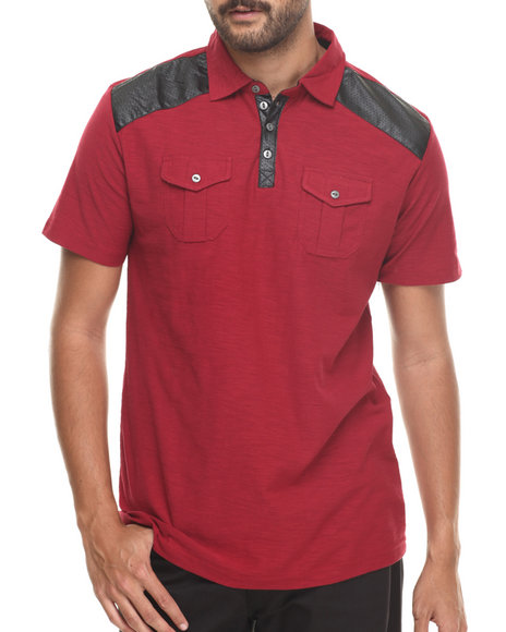 Red Faux Leather T Shirt