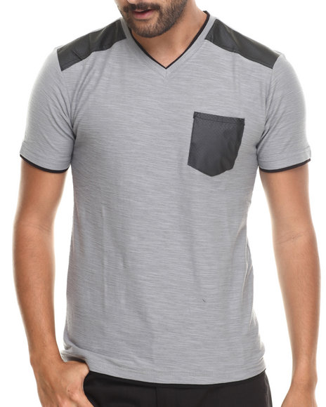 Buyers Picks - Men Grey Faux Leather Trim  V-Neck Tee - $29.99