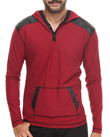 Buyers Picks - Men Red Pullover Hoody W/ Shoulder Panel Faux Leather Detail