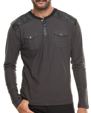 Buyers Picks - Henley L/S Faux leather trim Shirt