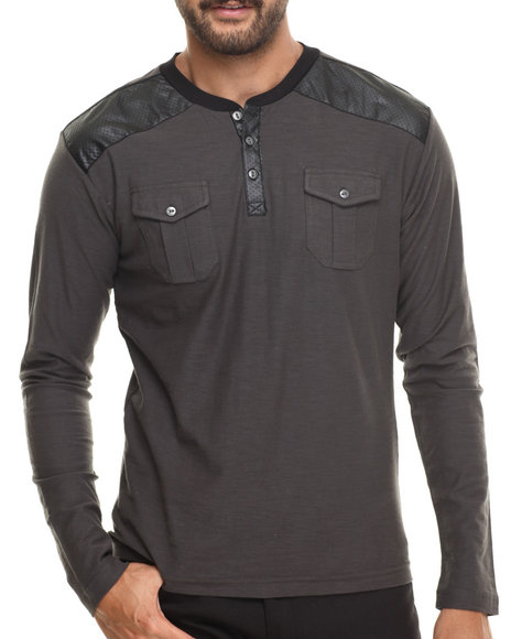 Buyers Picks - Men Grey Henley L/S Faux Leather Trim Shirt