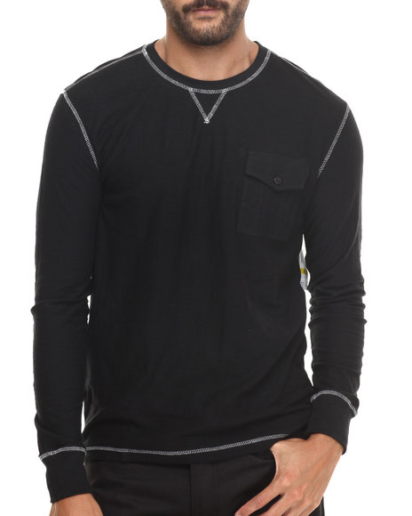 Buyers Picks - Men Black Slub Jersey L/S Crewneck Shirt