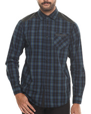 Buyers Picks - Huntington Plaid button down shirt w/ Faux leather trim should quilting