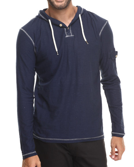 Buyers Picks - Men Navy Henley Pullover Hoodie