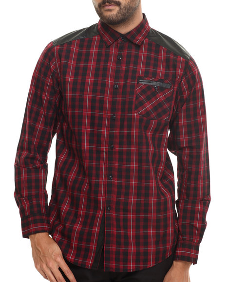 Buyers Picks - Men Red Huntington Plaid Button Down Shirt W/ Faux Leather Trim Should Quilting