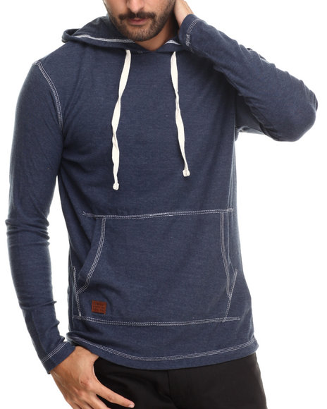 Buyers Picks - Men Navy Kangaroo Pocket Pullover Hoody Sweatshirt