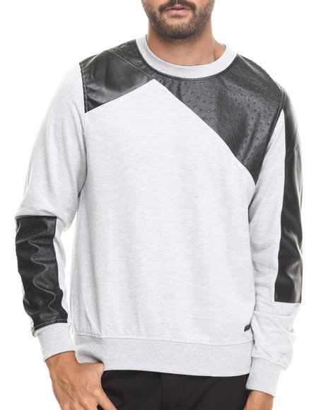 Akademiks - Men Grey Grand Fleece Sweatshirt W/ Ostrich Faux Trim Detail