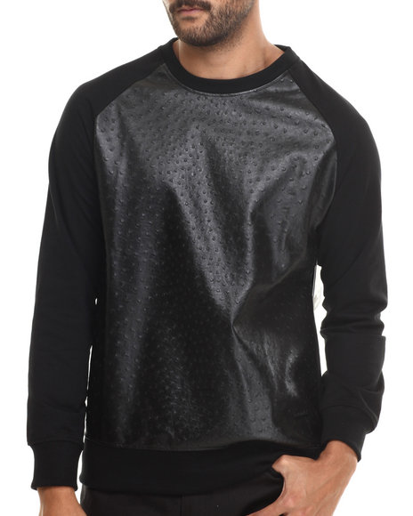 Akademiks - Men Black Downing Crewneck Sweatshirt W/ Faux Ostrich Detail - $12.99