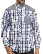 Buyers Picks - Classic Plaid w/ CHambray detail button down shirt