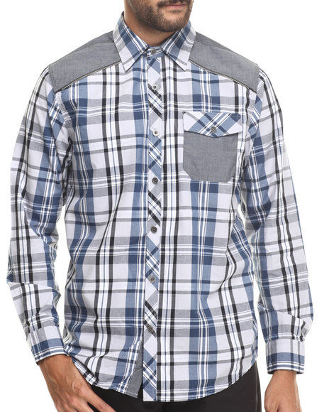 Buyers Picks - Men Blue Classic Plaid W/ Chambray Detail Button Down Shirt