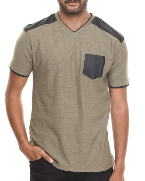 Buyers Picks - Men Olive Faux Leather Trim  V-Neck Tee