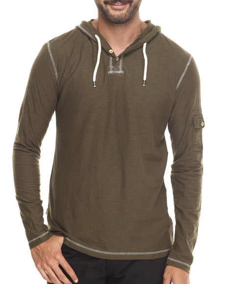Buyers Picks - Men Green Henley Pullover Hoodie