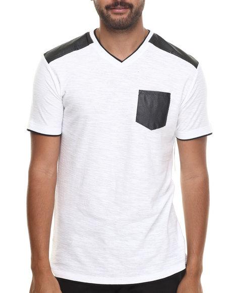 Buyers Picks - Men White Faux Leather Trim  V-Neck Tee - $10.99