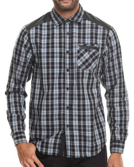 Buyers Picks - Men Grey Huntington Plaid Button Down Shirt W/ Faux Leather Trim Should Quilting