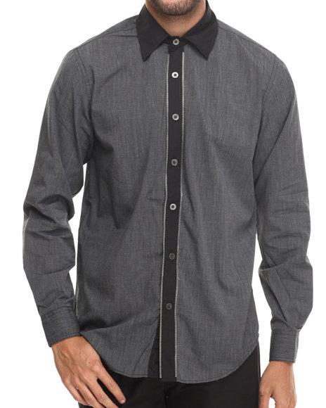 Buyers Picks - Men Black Poplin Dress Button Down Shirt - $34.00