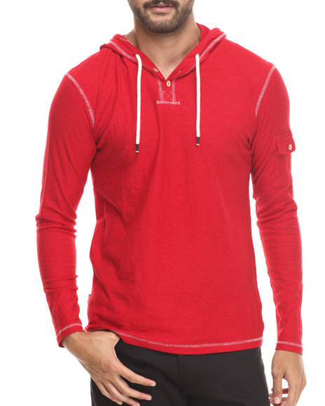 Buyers Picks - Men Red Henley Pullover Hoody