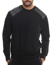 Men - Court Crewneck Faux leather trim Sweatshirt