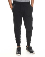 Jeans & Pants - Decorative Stitch & faux leather trim Jogger sweatpants
