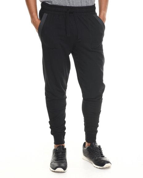 Buyers Picks - Men Black Decorative Stitch & Faux Leather Trim Jogger Sweatpants