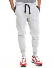 Buyers Picks - Decorative Stitch & faux leather trim Jogger sweatpants