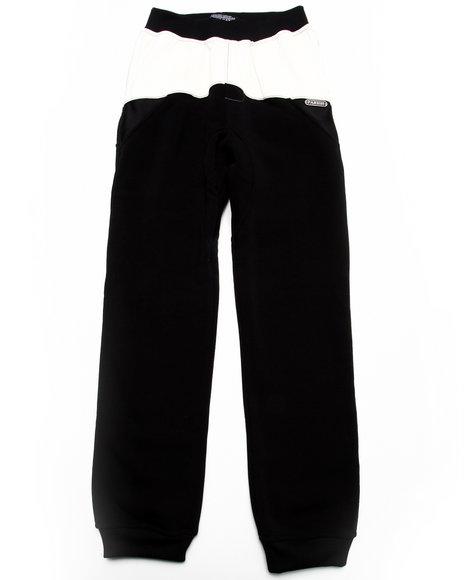 Parish - Boys Black Faux Leather & Mesh Sweat Pants (8-20)