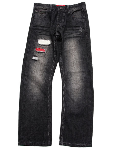 Parish - Boys Black Distressed Jeans (8-20)