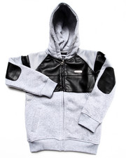 Parish - Faux Leather & Mesh Hoodie (4-7)