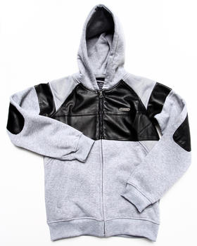 Parish - Faux Leather & Mesh Hoodie (8-20)