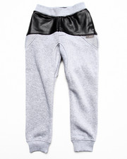 Bottoms - Faux Leather & Mesh Sweat Pants (4-7)