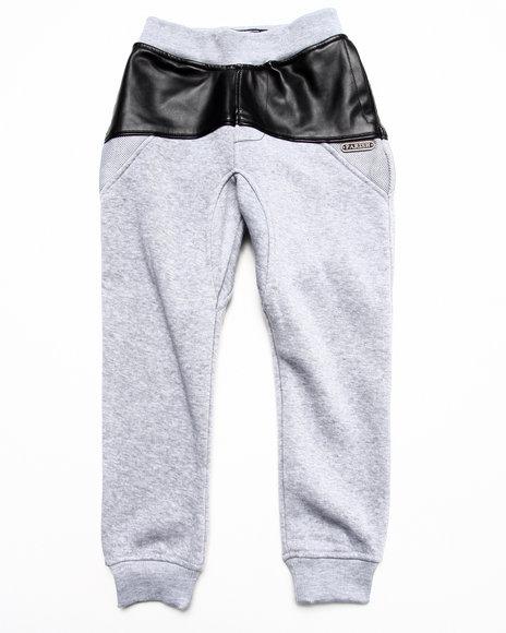 Parish - Boys Grey Faux Leather & Mesh Sweat Pants (4-7)