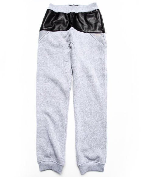 Parish - Boys Grey Faux Leather & Mesh Sweat Pants (8-20)